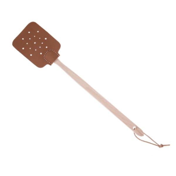 stilevolle Fliegenklatsche aus Buche mit Leder