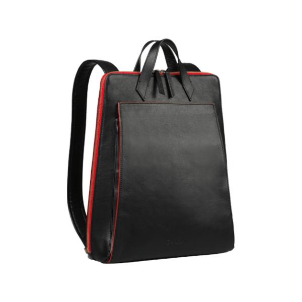 CANUSSA URBAN BLACK_RED Rucksack veganes Leder nachhaltig aus recycelten Plastikflaschen FRONT