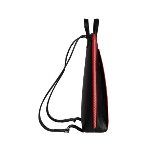 CANUSSA URBAN BLACK_RED Rucksack veganes Leder nachhaltig aus recycelten Plastikflaschen Seite